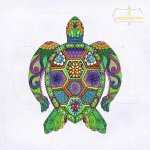 Colorful Turtle Machine Embroidery Design