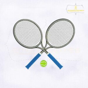 Tennis Rackets and Ball Embroidery Design
