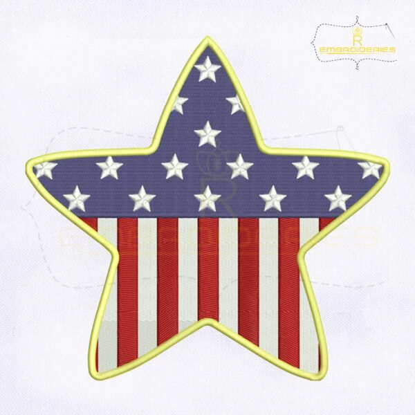 4th Of July American Star Embroidery Design