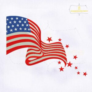 Fourth of July American Flag Embroidery Design