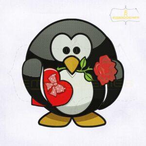 Beautifull Valentine Penguin Embroidery Design