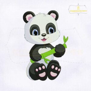 Cute Panda with Bamboo Embroidery Design