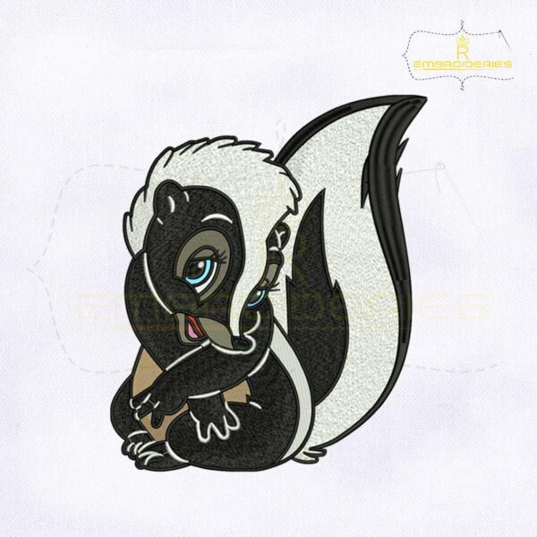 Bambi Flower Skunk Digital Embroidery Design