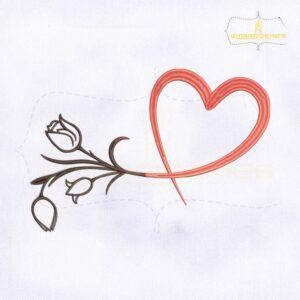 Flower Bud Heart Embroidery Design