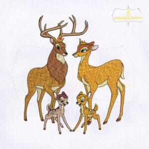 Bambi Family Embroidery Design