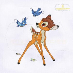 Fun and Playful Bambi Embroidery Design