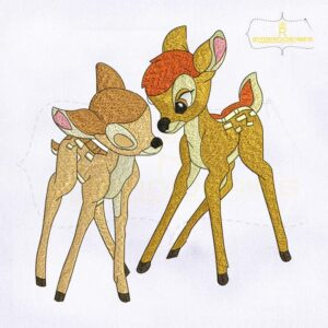 Bambi Love Faline Deer Embroidery Design