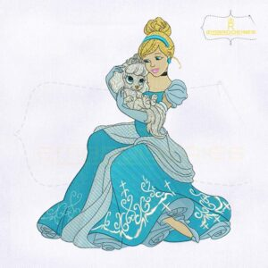 Princess Cinderella And Pets Embroidery Design