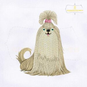 Chinese Dog Lhasa Apso Embroidery Design