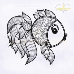 Artistic Fish Outline Embroidery Design