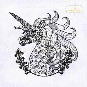 Decorative Unicorn Line Art Embroidery Design