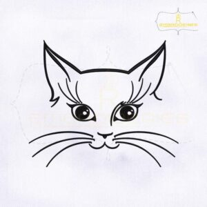 Inquisitive Cat Face Outline Embroidery Design