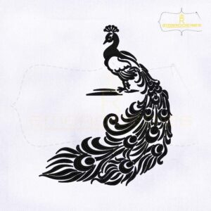 Magnificent Black and White Peacock Embroidery Design