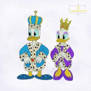King Donald And Queen Daisy Duck Embroidery Design