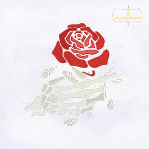 Rose in Skeleton Hand Embroidery Design