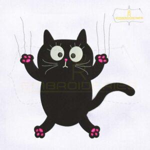 Black Cat Claw Scratch Glass Embroidery Design