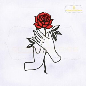 Lovely Red Rose Hands Embroidery Design