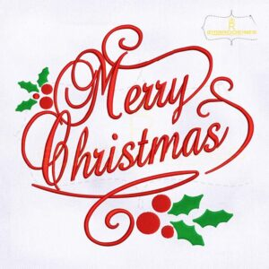 Decorative Merry Christmas Embroidery Design