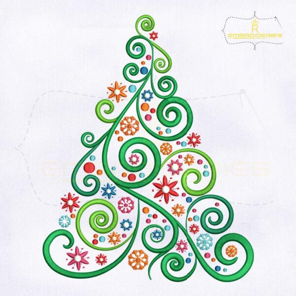 Colorful And Swirl Christmas Tree Embroidery Design