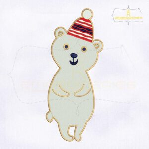 Christmas Snow Bear Machine Embroidery Design