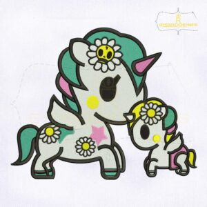 Beautifull Mom And Baby Unicorn Embroidery Design
