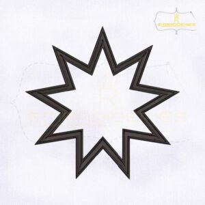 Bahai 9 Pointed Star Machine Embroidery Design