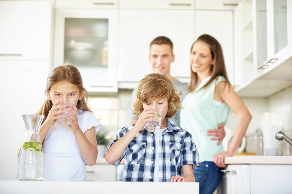 Family Drinking Clean Water