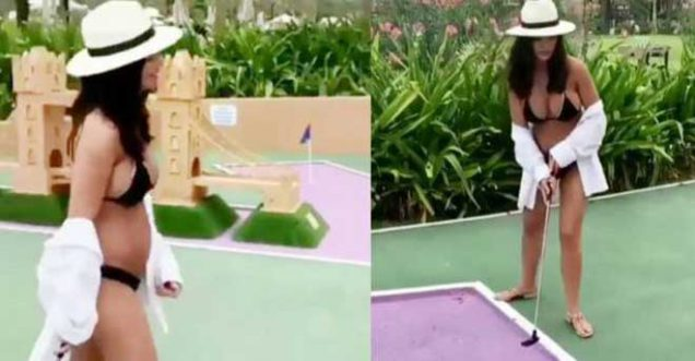 amy jackson playing golf during pregnancy