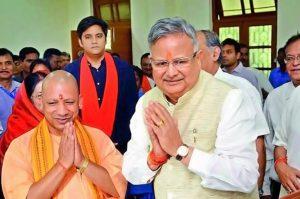 politics chhattisgarh cm raman singh touches feet of up cm yogi