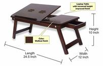 Fabulo Wooden Adjustable Study Bed Laptop Multipurpose Table With Foldable Legs And Drawer (Walnut Finish)