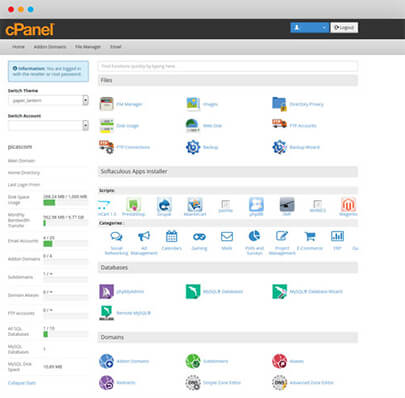 Snapshot of CPanel Provided for Shared Hosting