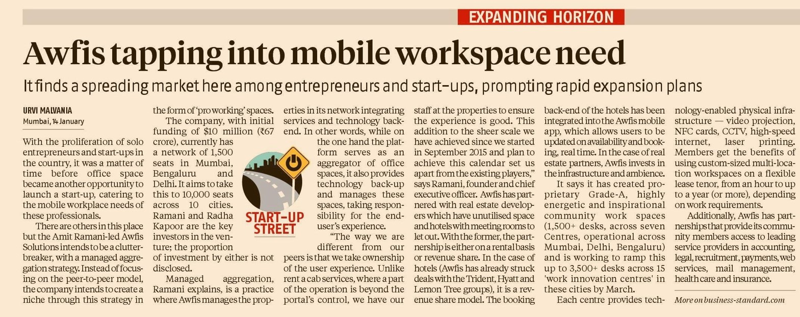 Awfis tapping into mobile workspace need