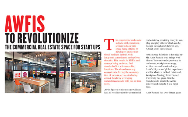 Awfis to Revolutionize the Commercial Real Estate Space for Start-ups