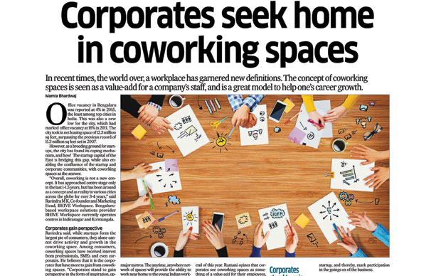 Corporates seek home in coworking spaces