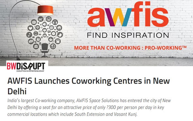 AWFIS Launches Coworking Centres in New Delhi
