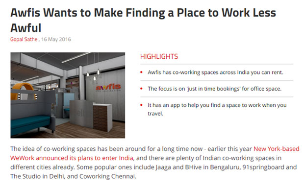 Awfis Wants to Make Finding a Place to Work Less Awful