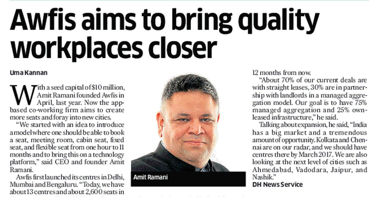 Awfis Aims To Bring Quality Workplaces Closer