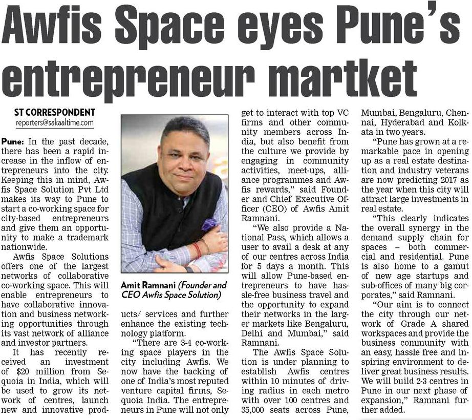 Awfis Space Solution Pvt Ltd makes its way to Pune