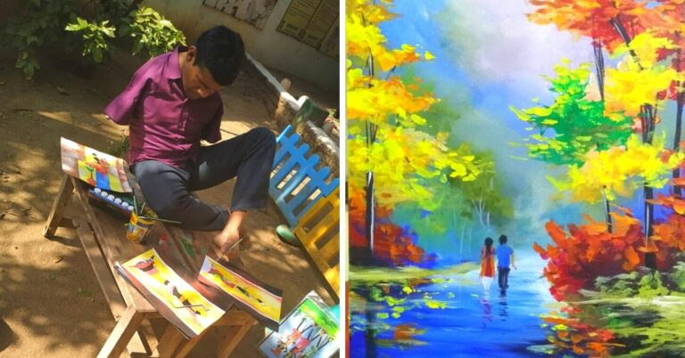 Born Without Hands, Hearing-Impaired Man Makes Stunning Paintings With His Feet