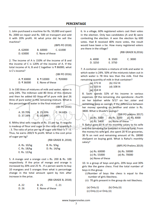 sample of previous years questions