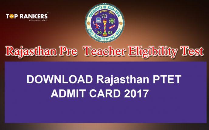 Rajasthan PTET Admit card 2017
