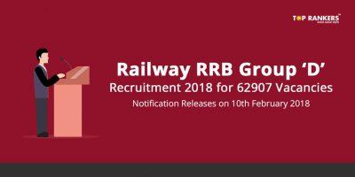 RRB Group D Recruitment 2018 – Railway RRC Notification Notice