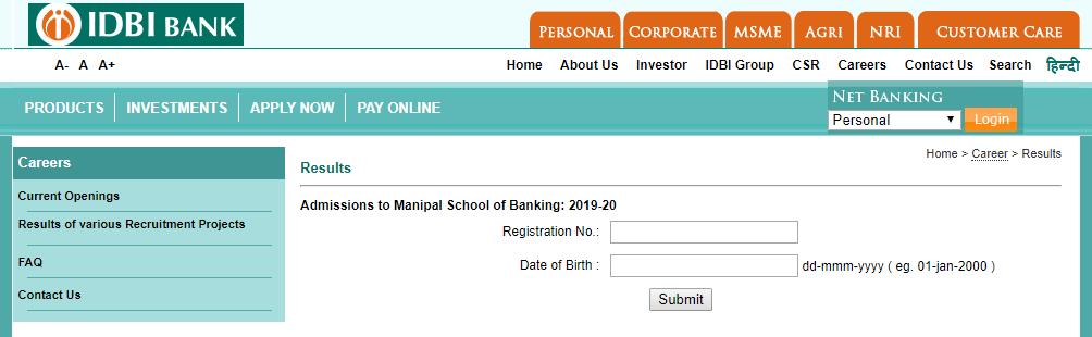 IDBI Manipal Result
