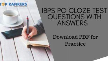 IBPS PO Cloze Test Questions & AnswersPDF Download