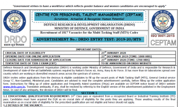 DRDO Recruitment 2020 – Apply Online for 1817 MTS Vacancies