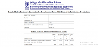 IBPS Clerk Prelims Score Card 2020 Download Here