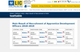 LIC ADO Mains Result 2019 – Check LIC ADO Mains Merit List Zone Wise
