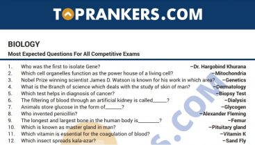 Important Biology Questions and Answers PDF for Competitive Exams