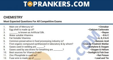 Chemistry Questions Answers PDF for Competitive Exams