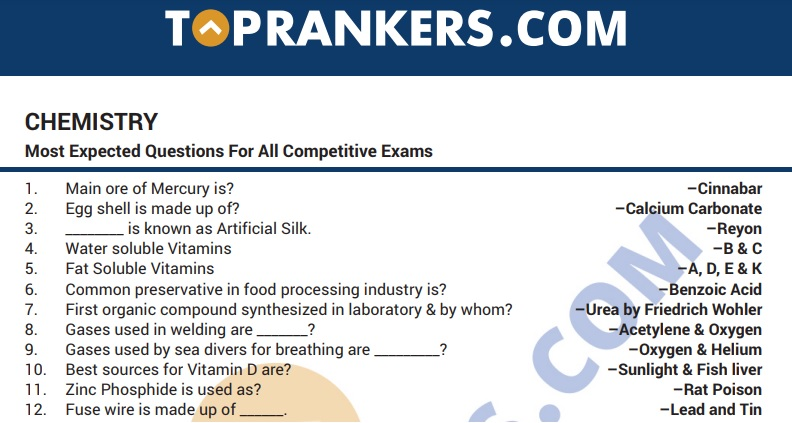 Chemistry Questions Answers